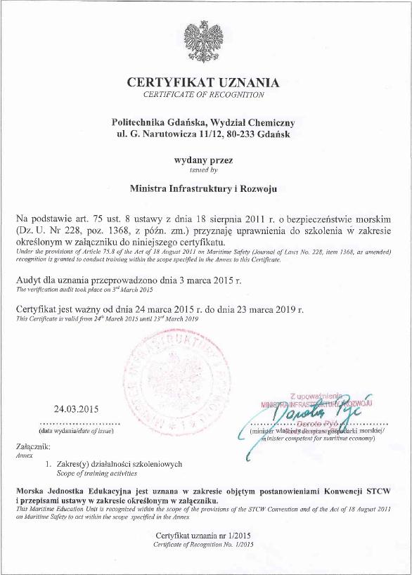 Certyfikat Ministra Infrastruktury i Rozwoju